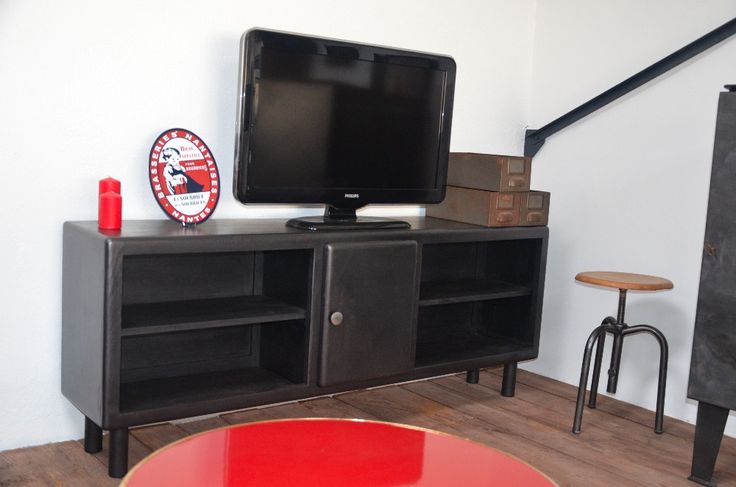 17 best ideas about meuble tv bois metal on pinterest. Black Bedroom Furniture Sets. Home Design Ideas