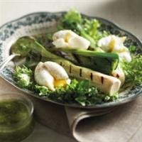 Salade de poireaux grillés, oeufs mollets par les Cultures de chez Nous