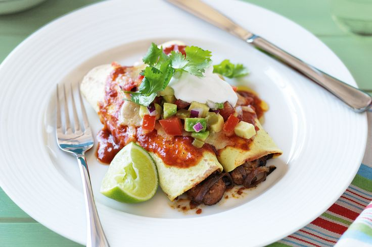 Chicken enchiladas with lime and avocado salsa A fresh and delicious meal can be enjoyed any day of the week - be inspired by this easy dinner that is on the table in minutes.