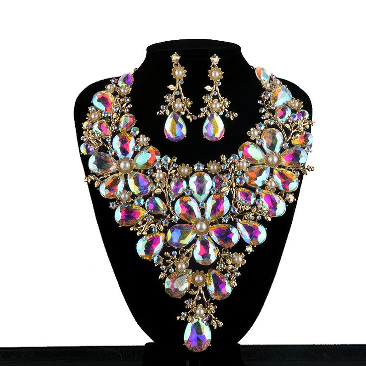 High End Bridal Necklace Earring Sets Women Statement Wedding Decoration pearl and AB dropwater Jewelry Sets Christmas Present