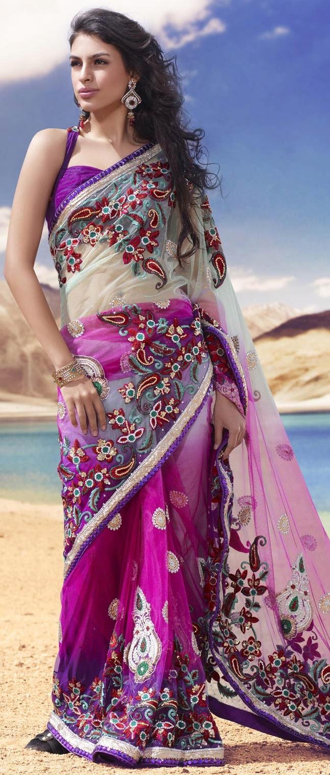 Light Pastel #Green and Deep #Pink Net #Saree with Blouse @ $315.43 | Shop @ http://www.utsavfashion.com/store/sarees-large.aspx?icode=skk13727