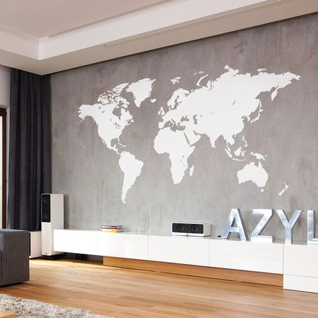 "World Map // White (46""W x 22""H)"