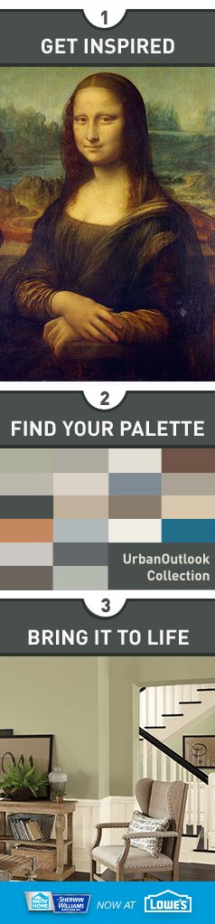 """Tailored, sleek and refined, the """"Urban Outlook"""" collection from HGTV HOME™ by Sherwin-Williams reflects a sophisticated downtown style. This cosmopolitan palette is best paired with industrial decor and worn-wood finishes to create a feeling that's organic yet modern."""