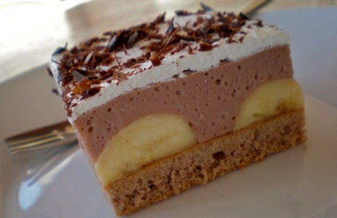 Banánové řezy s čokoládovým krémem | NejRecept.cz