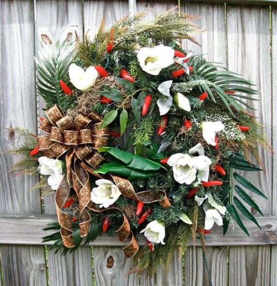 Louisiana New Orleans Cajun Christmas Pre-lit Wreath, by IrishGirlsWreaths, $129.99