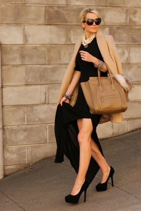 céline bag street look high black heel pumps camel coat oversize sunglasses italian chic style little black dress pearl collar Too short for me, but I like the general idea.