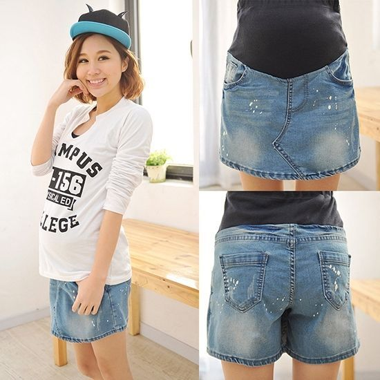Hot Pregnant Women Shorts Casual Over Bump Denim Skorts Maternity Short Jeans