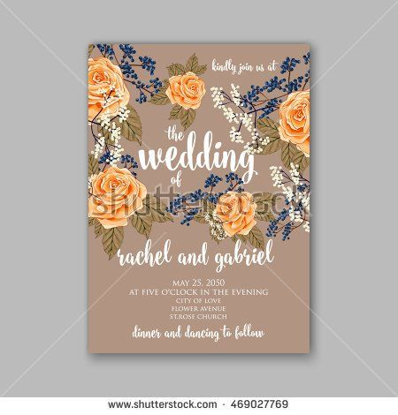 71 best paper wedding images on pinterest invitation cards beautiful wedding floral vector invitation sample card design frame template rose daisy stopboris Images