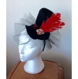 Handmade Goth Mini Top Hat Hair Fascinator Hairband