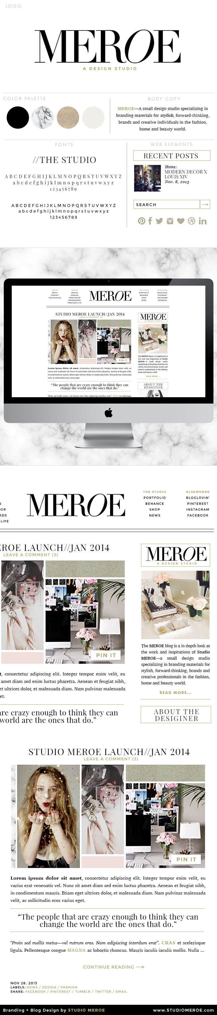 STUDIO MEROE self branding + blog design. www.studiomeroe.com #blog #layout #web…
