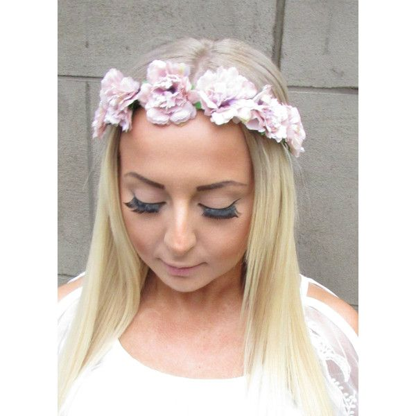 Dusky Pink Carnation Flower Headband Garland Festival Elasticated... ($8.61) ❤ liked on Polyvore featuring accessories, hair accessories, headbands & turbans, silver, flower crowns, floral crown headbands, floral crowns, pink headbands and flower crown headband