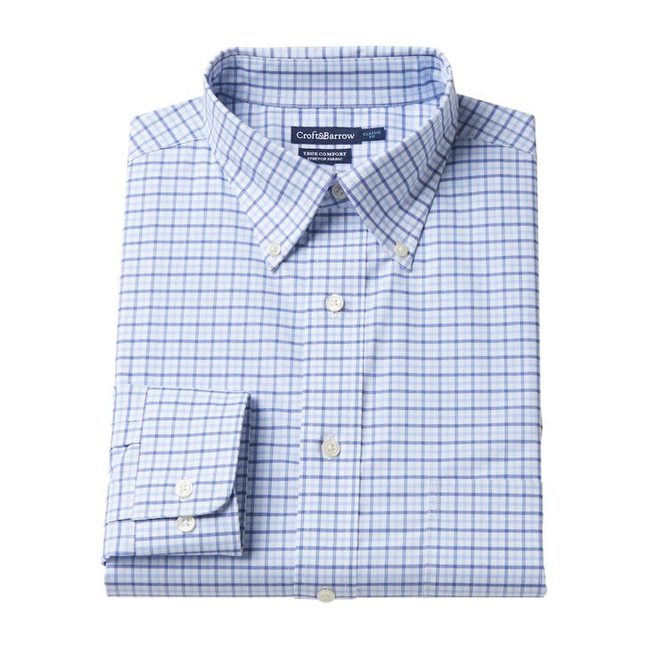 Men's Croft & Barrow® True Comfort Fitted Oxford Stretch Dress Shirt, Size: 15.5-34/35, Blue