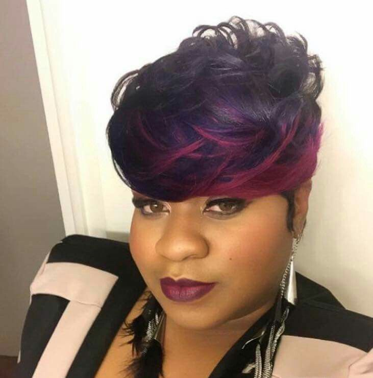 shortcut hairstyles : Short cut with purple and pink hair coloring Hairstyles Pinterest ...