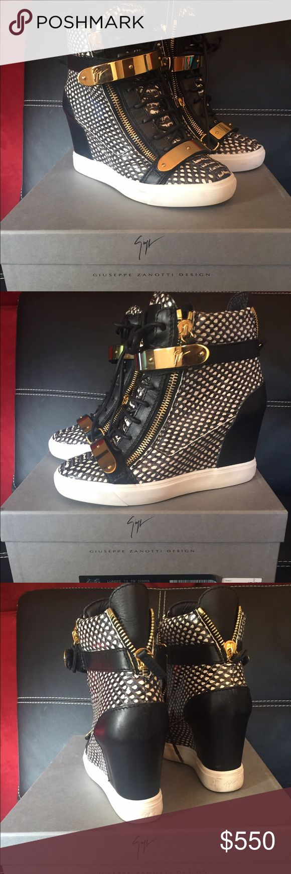 Giuseppe Wedge Sneakers Giuseppe Zanotti wedge tennis shoes with the gold straps Authentic purchase at the Giuseppe store in Phipps Plaza Atlanta,GA !!! Only been worn 2 times in Great/perfect condition!!! Shoe run small firs a women's 9 Giuseppe Zanotti Shoes Heeled Boots