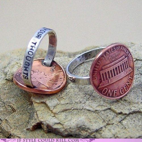 cute rings: Thoughts Rings, Pennies Rings, Style, Cute Ideas, Jewelry, Cool Ideas, Things, Diy, Crafts