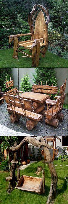 Садовая мебель из дерева, веток, пеньков и коряг