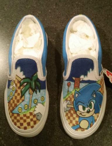 Custom Sonic The Hedgehog Kids Vans Slip On Shoes