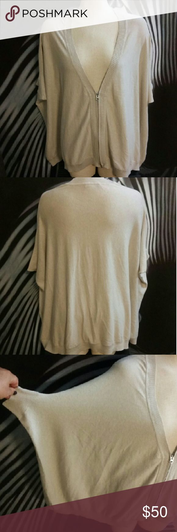 Haute Hippie Nude Cardigan sz . XS/S/M Haute Hippie Nude Cardigan sz . XS/S/M Excellent used condition  Very wide cut...flowy silky Knit Sleeve length is 3/4 Haute Hippie Sweaters Cardigans