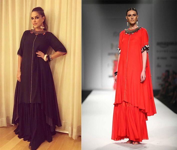 #nehadhupia #nikasha #red #asymmetricembroidery #dress #getherlook #perniaspopupshop #ppus #happyshopping