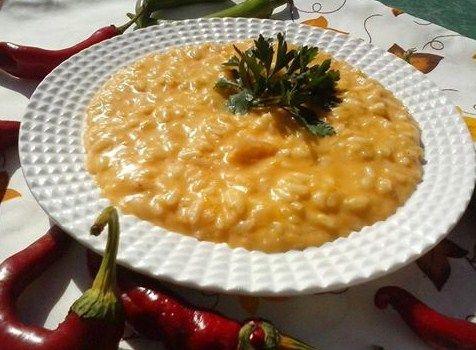 Un risotto cremosissimo, con zucca e mascarpone.