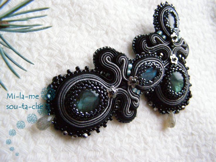 Soutache earrings with labradorite  Design and made by Milame soutache