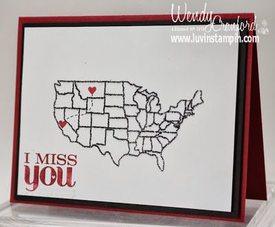 Map it out stamp set... missing you card.  Heat Embossing, glitter emobssing, stampin up card, http://www.luvinstampin.com/2013/10/missing-you-card-map-it-out.html
