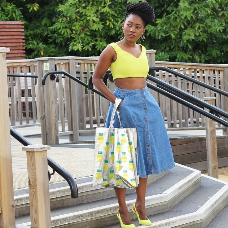 Midi denim skirt & Primark Pineapple tote