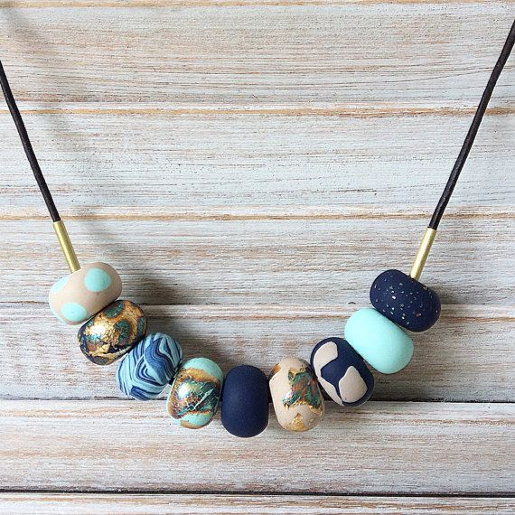 Navy mint tan and gold handmade necklace polymer by Rubybluejewels