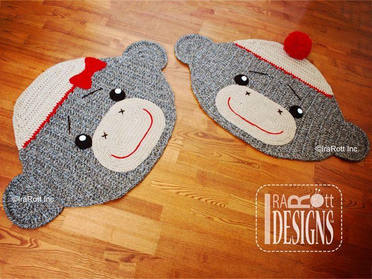 Spunky the Sock Monkey Rug PDF Crochet Pattern by IraRott Inc.