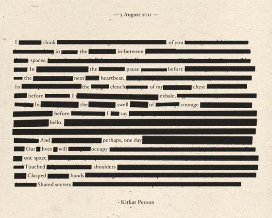 I love making blackout poems! You can just take a page of a book, magazine, or newspaper that you don't plan on using anymore, and then blackout the words you don't want to create your own poem/story! It's fun.
