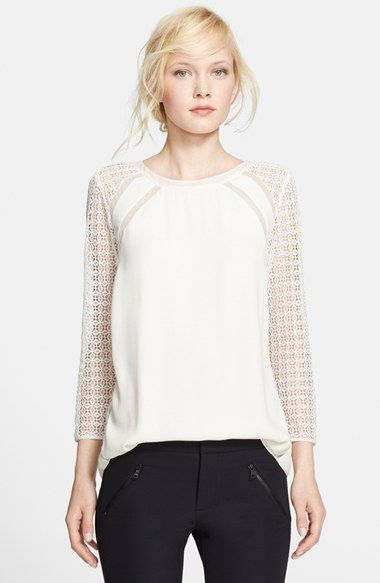 Rebecca Taylor Lace Sleeve Silk Trim Crepe Top available at #Nordstrom
