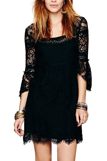 Black Lined Lace Dress