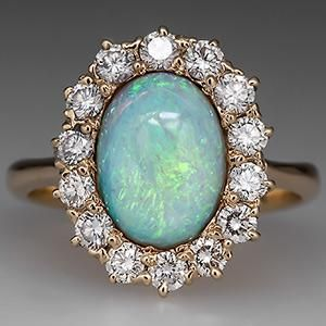 Estate Opal Ring Oval Cabochon w/ Diamond Halo 14K Gold