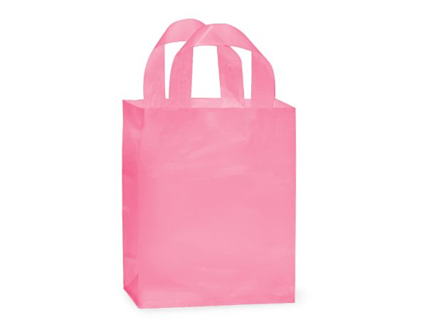 Pink Frosted Plastic Gift Bags - Cub