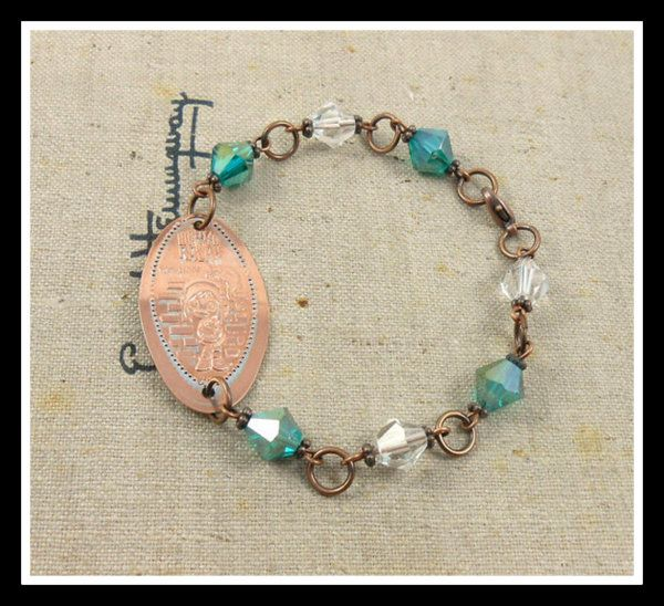 Disney pressed penny bracelet with crystals. Click for more photos!
