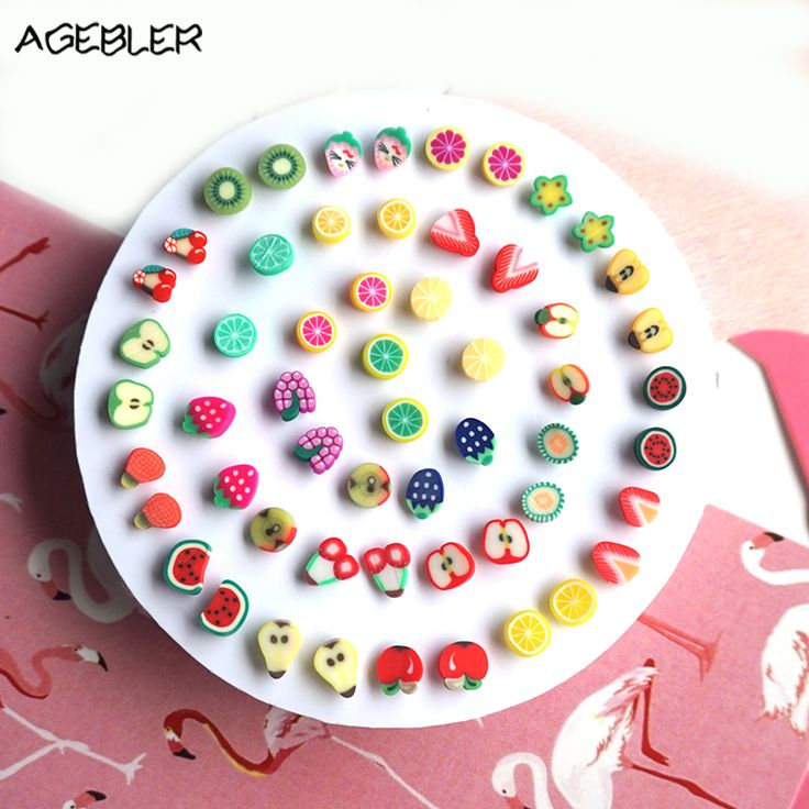 5 Pairs/lot Handmade Cute Stud Earrings for Women Girl Jewelry Kids Gift Colorful Fruit Animal Small Brinco Children Earring P32