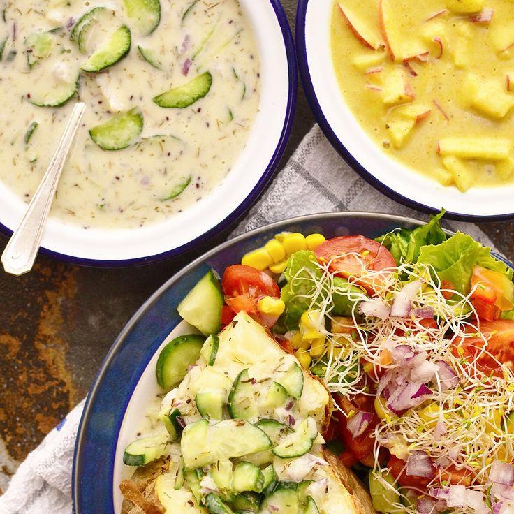 Bakad potatis med grönsaker och kalla såser! Receptet finns i meny 18. 😊💚  www.allaater.se
