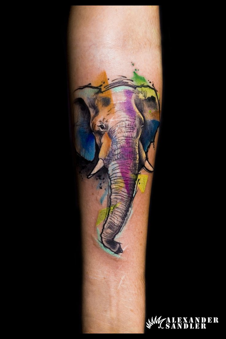 #Abstract #elephant #tattoo by #Alexander #Sandler #kipod #kipodtattoo