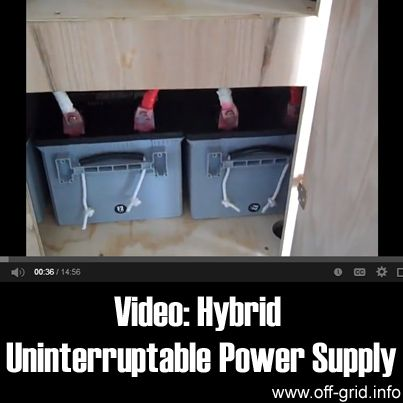 Here we have a short video which takes us on a guided tour of a hybrid home power supply system. It incorporates solar panels and can be also be connected to small generators with propane conversions added. There is even the option of plugging in a mobile diesel generator. It's a very versatile system and can supply all of the electricity needed for his home! There is the possibility for surplus electricity to be fed back to the grid to provide an income.