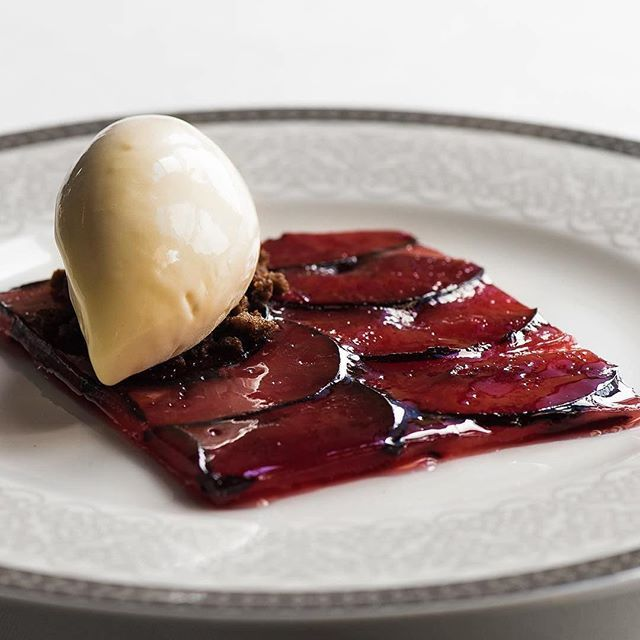 | Plum • Almond icecream • Butterfried ryebread | By @bobergsmatsal via @herrfb Bobergs Matsal, Stockholm, Sweden (European/scandinavian/swedish cuisine) .