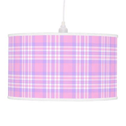 Pink Purple Lavender Plaid Gingham Check Girl Pendant Lamp - pattern sample design template diy cyo customize
