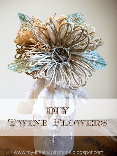 DIY Twine and raffia flowers with recycled paper leaves - Tutorial Fiori di spago e rafia con foglie carta riciclata - My Little Inspirations  #twine #flowers #stringart #fiori #spago #handmadespring #thecreativefactory