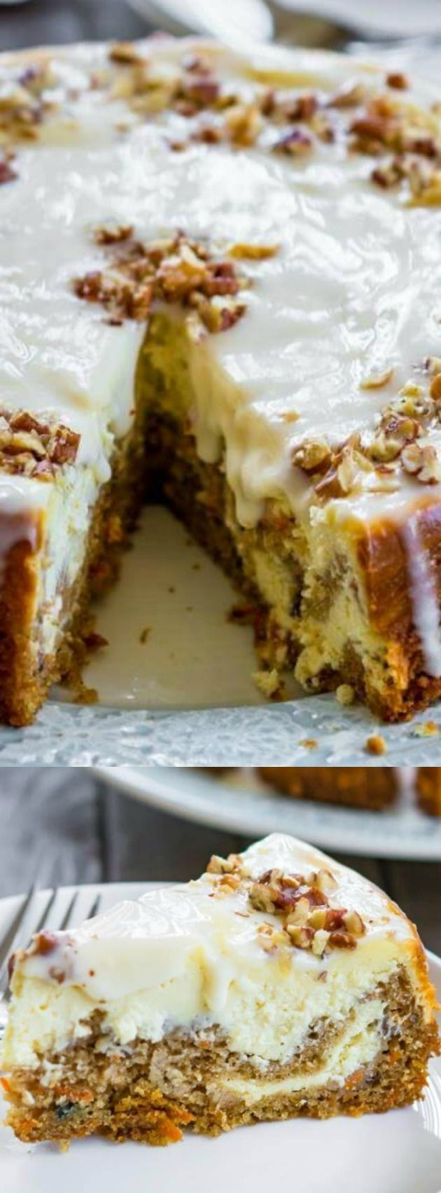 This Carrot Cake Cheesecake from Chef de Home is a mixture of two delicious cakes that will be the star at any holiday party you host! The carrot cake and cheesecake flavors are so perfect together, and the sour cream glaze and walnuts top it of beautifully!
