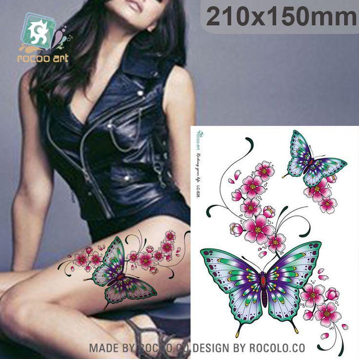 Không thấm nước xăm tạm thời stickers cho phụ nữ phụ nữ bướm hoa thiết kế cánh tay lớn nhãn dán hình xăm Miễn Phí Vận Chuyển LC2828