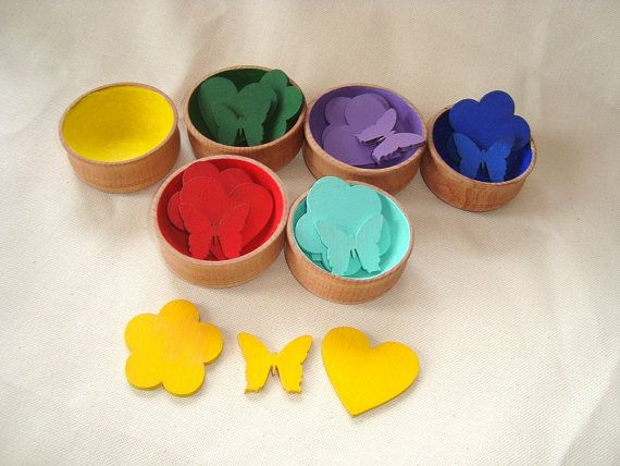 Sorting toy. Wood rainbow toy. Wooden toys by fairyitemshop