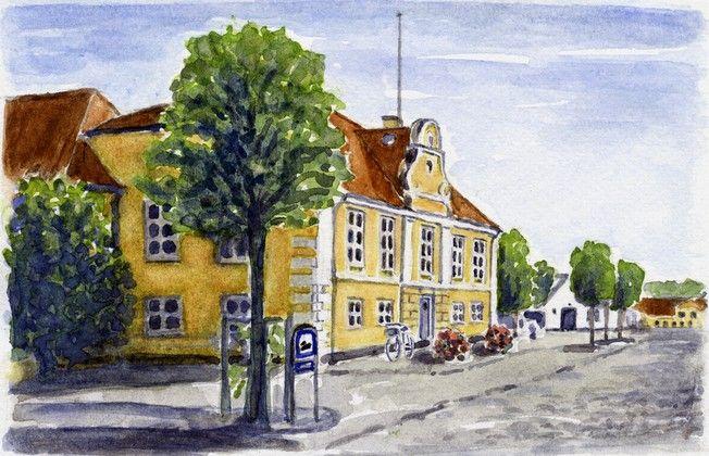 Maleri af det gamle rådhus i Præstø af kunstneren Per Birger Henriksen. #praestoe