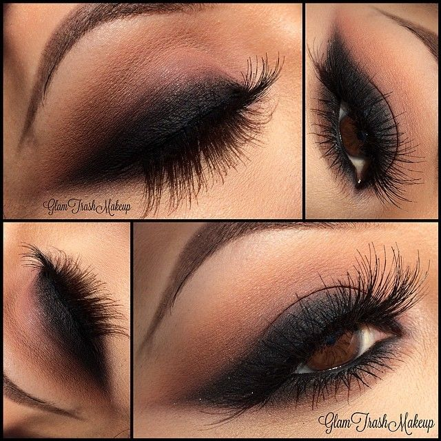 #Smokey #cat_eye: thick but soft black winged eyeliner blended into taupe. smoked out lower lashline | sultry #makeup @glamtrashmakeup