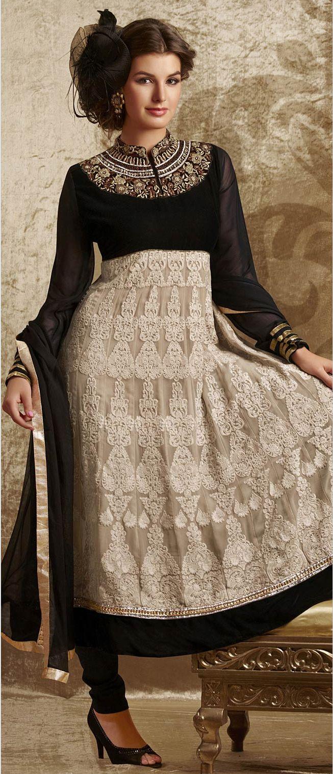 Light Beige and #Black Pure #Georgette #Anarkali Churidar Kameez @ $239.58