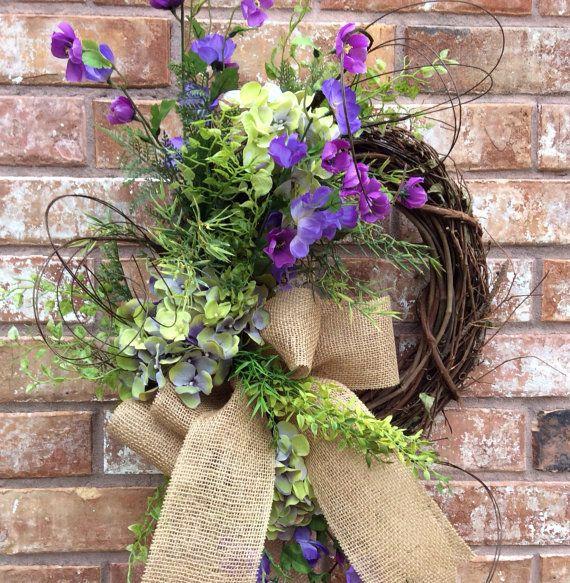 Hydrangea Wreath, Double Door Wreath,Mothers Day Wreath, Easter  Wreath, Spring Wreath, Front Door Wreath, Whimsical Wreath, Everyday Wreath...