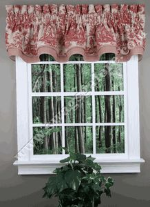 "Country Life is a classic Waverly fabric, accented with coordinating check in this stunning toile garnet paterrn on an antique background. Valance is 100% cotton. Valance is has a 3"" pocket & 2 1/2"" header. #Waverly #Valance"